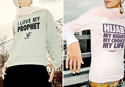 """""""Eu amo meu profeta"""" / """"Hijab, meu direito, minha escolha, minha vida"""""""